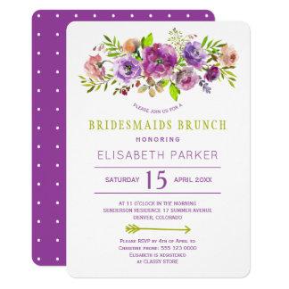 Cartão Refeição matinal floral verde roxa rústica das