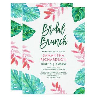 Cartão Refeição matinal nupcial da aguarela tropical na