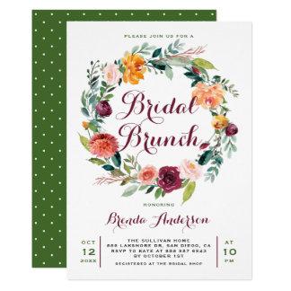 Cartão Refeição matinal nupcial da grinalda floral do