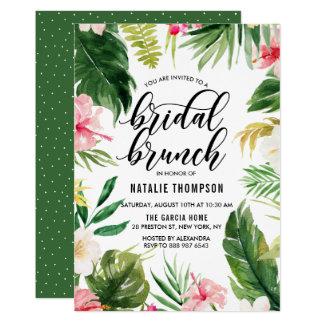 Cartão Refeição matinal nupcial do quadro floral tropical