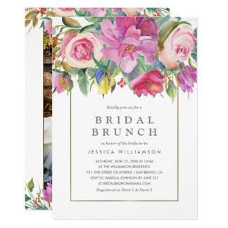 Cartão Refeição matinal nupcial floral da aguarela da