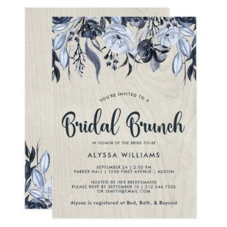 Cartão Refeição matinal nupcial floral e branca escura da