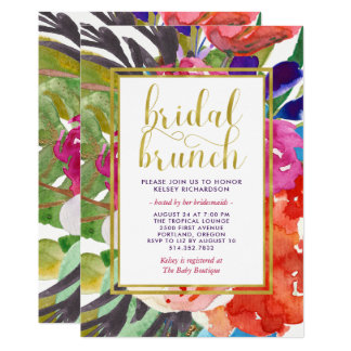 Cartão Refeição matinal nupcial tropical colorida