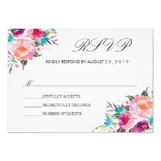 Cartão Refeição Wedding floral chique de RSVP/no