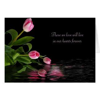 Cartão Reflexão cor-de-rosa da tulipa para a simpatia