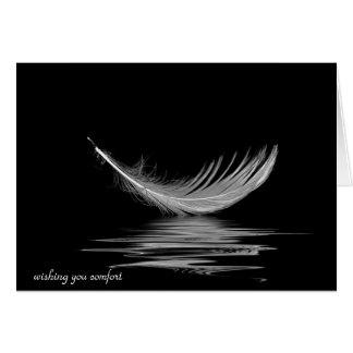 Cartão reflexão da pena branca para a simpatia