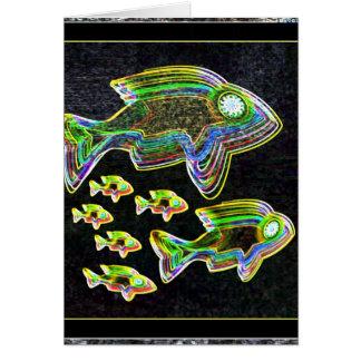 Cartão Reflexão iluminada: Peixes na luz de inundação