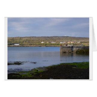 Cartão Reflexões no porto de Kilronan