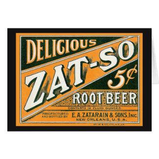 Cartão Refrigerante root beer de Zat-So 5¢