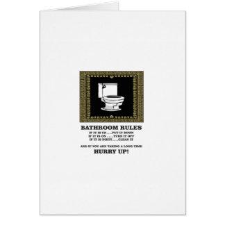 Cartão regras escuras do banheiro