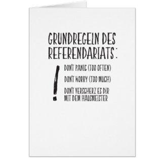 Cartão Regras fundamentais da Referendariats