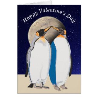 Cartão Rei pinguins e grandes namorados da lua