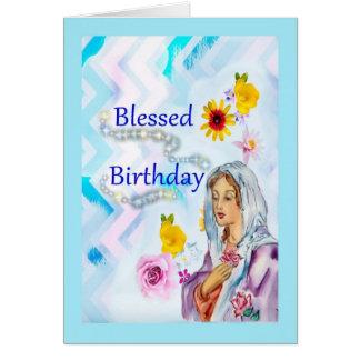 Cartão religioso abençoado do aniversário