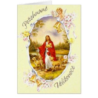 Cartão religioso checo/eslovaco do vintage de