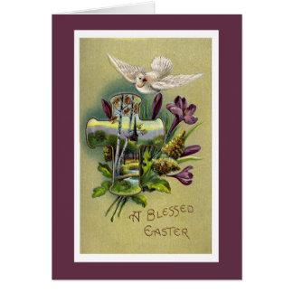 Cartão religioso da cruz da páscoa do vintage