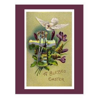 Cartão religioso da cruz da páscoa do vintage cartão postal