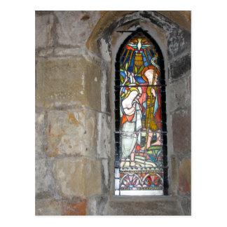 Cartão religioso da janela de vitral
