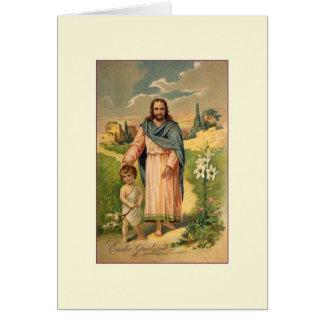 Cartão religioso da páscoa de Jesus do Victorian
