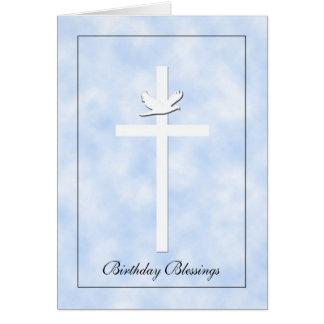 Cartão religioso de Brithday - cruz & pomba