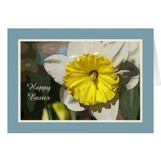 Cartão religioso do Daffodil do felz pascoa