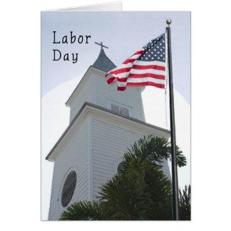 Cartão religioso do Dia do Trabalhador com igreja