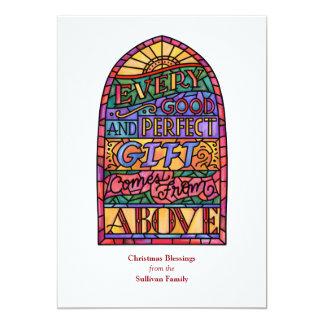 Cartão religioso do feriado da Não-Foto do vitral Convite 12.7 X 17.78cm