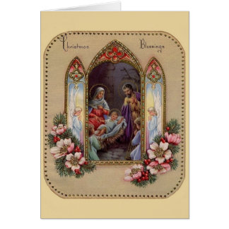 Cartão religioso do Natal do vintage