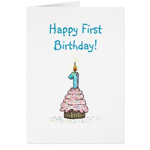 Cartão religioso do primeiro aniversário