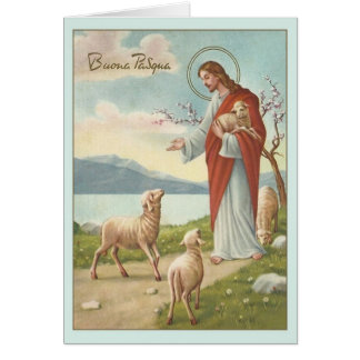 Cartão religioso italiano da páscoa do vintage