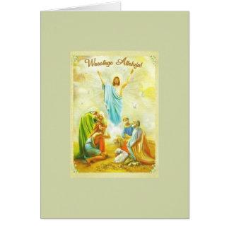 Cartão religioso polonês da páscoa do vintage