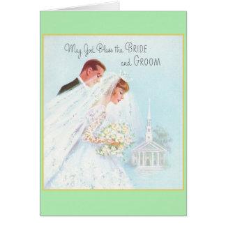 Cartão religioso retro do casamento