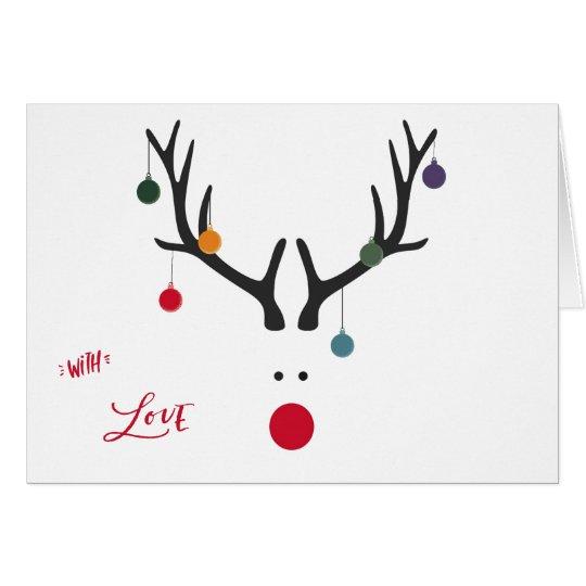 Cartão Rena abstrata engraçada moderna do Natal no branco
