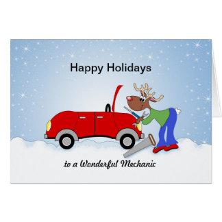 Cartão Rena de Mechanice do carro que fixa o carro