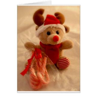 Cartão Rena do Beanie & bastão de doces