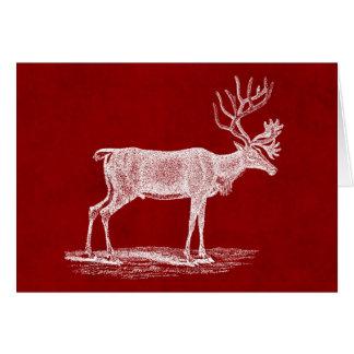 Cartão Rena do Natal na cor carmesim vermelha do