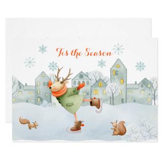 Cartão Rena e Natal | da pista de patinagem dos esquilos