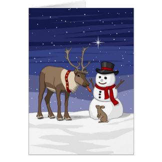 Cartão Rena que dá o nariz da cenoura do boneco de neve