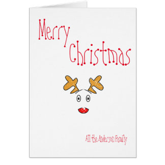 Cartão Rena vermelha do nariz de Rudolph do Natal mínimo