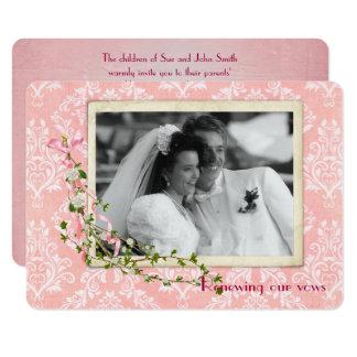 Cartão Renovação cor-de-rosa do voto de casamento tema