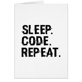 Cartão Repetição do código do sono