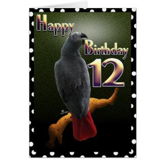 Cartão Repita mecanicamente o aniversário 12 feliz de