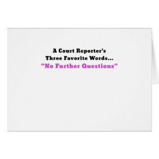 Cartão Repórteres de corte três palavras favoritas nenhum