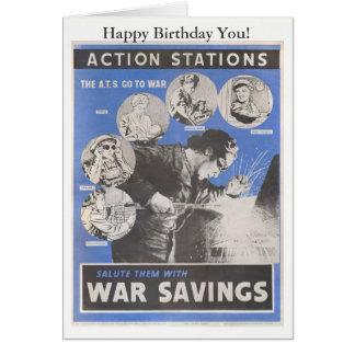 Cartão Reprodução do cartaz britânico do tempo de guerra