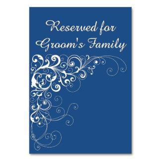 Cartão reservado azul elegante da mesa do