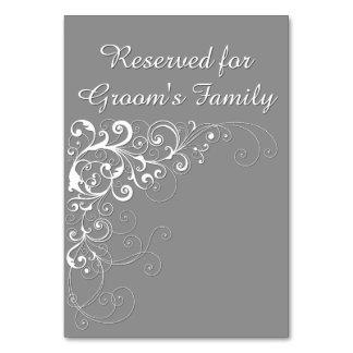 Cartão reservado cinzento elegante da mesa do