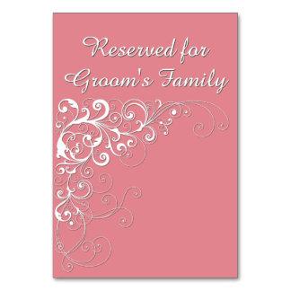 Cartão reservado cor-de-rosa coral elegante da