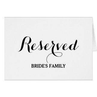 Cartão reservado do sinal da mesa ou do assento