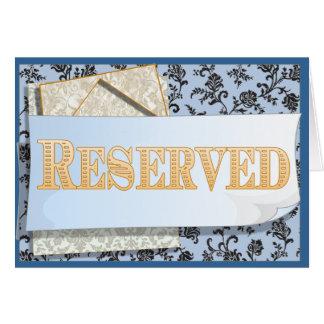Cartão reservado do sinal do assento