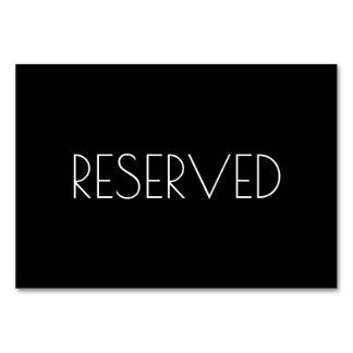 Cartão reservado preto do assento ambos os lados