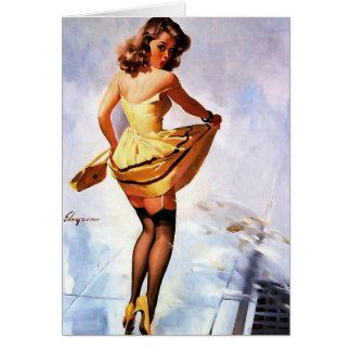 Cartão Respingo de Gil Elvgren do vintage na menina do